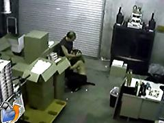 A pair of horny employees get caught getting it on at work