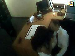 Cutie gets bent over a desk at work while the camera rolls