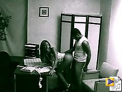 Ebony couple fucking in the office at the bank