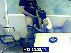 Black babe caught on tape giving head at work