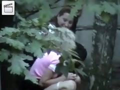 Bad girls caught pissing in the yard