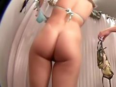 Two babes fit the bikinis in the dressing room clips